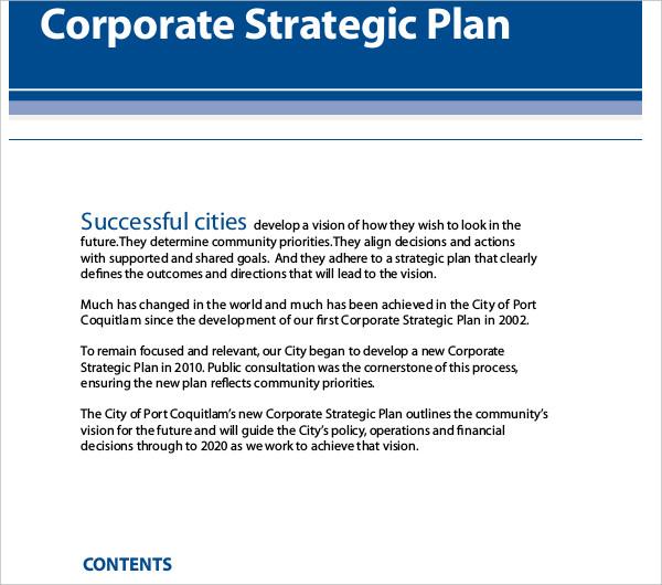 corporate strategic plan example