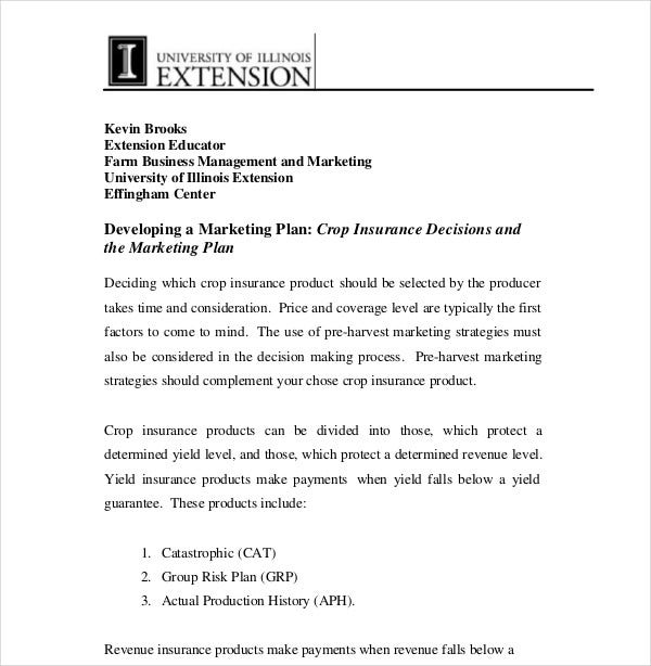crop insurance decisions marketing plan