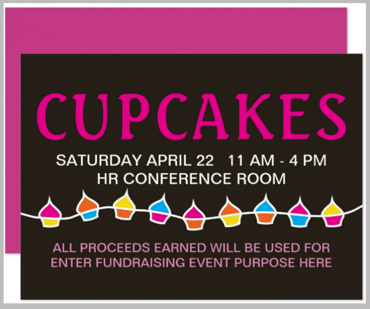 cupcake fundraising sale flyer card template