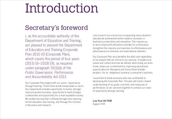 department of education training corporate plan2