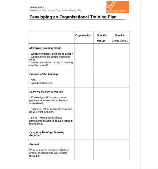 Developing Organisational Training Plan