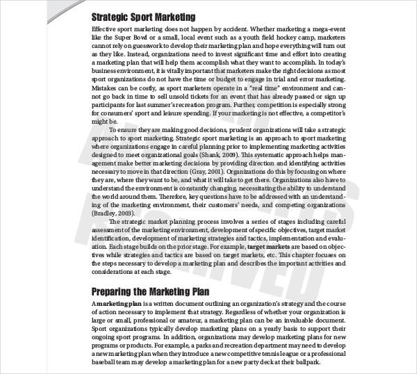 developing strategic sport marketing plan