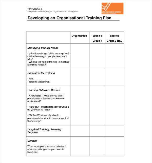 developing an organisational training plan