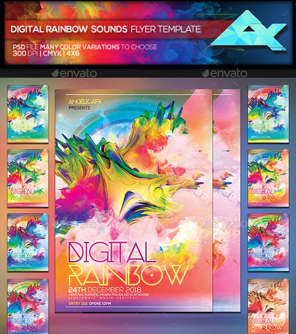 Digital Rainbow Sounds Flyer Template