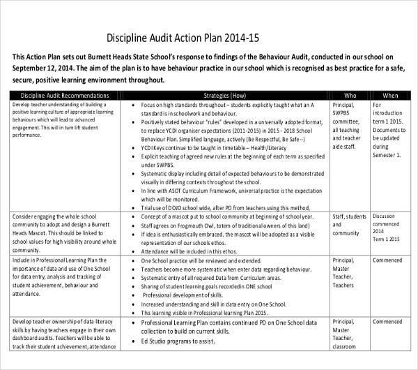 discipline audit action plan
