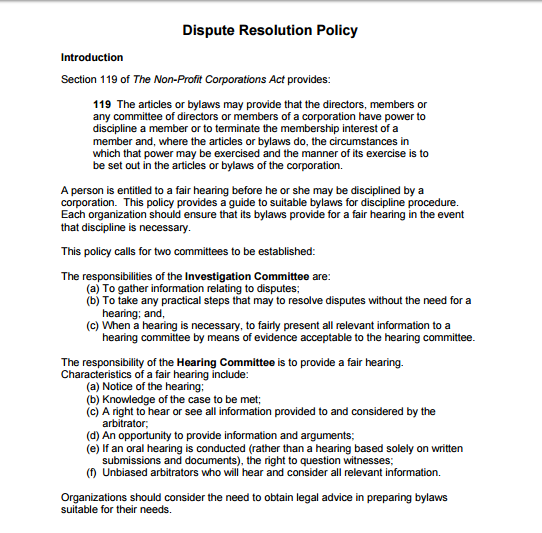 Dispute Resolution Policy