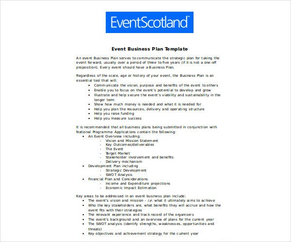 download event business plan template