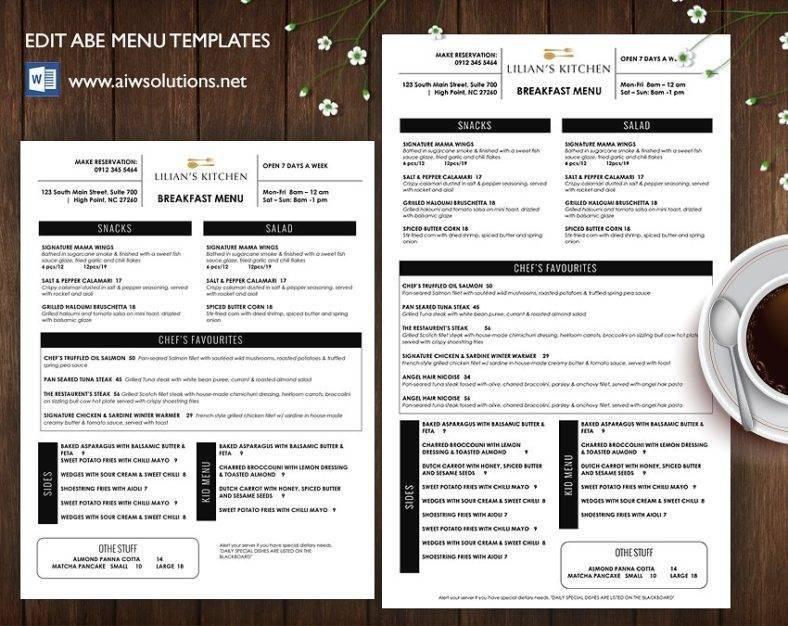 Editable Restaurant Menu