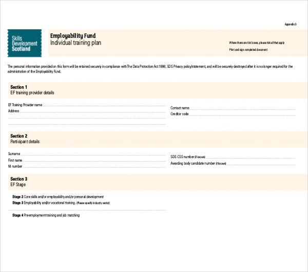 employability fund individual training plan