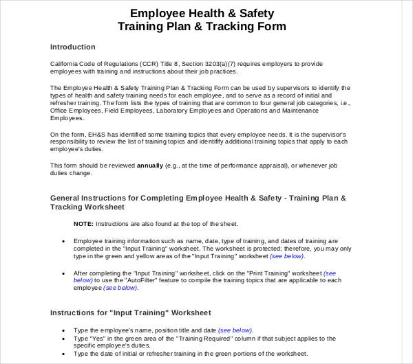 employee health safety training plan