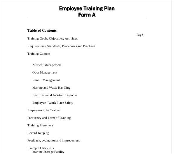 employee training plan farm