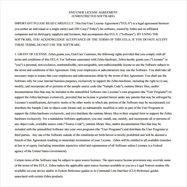 End User License Agreement Template Images  Agreement Letter Format
