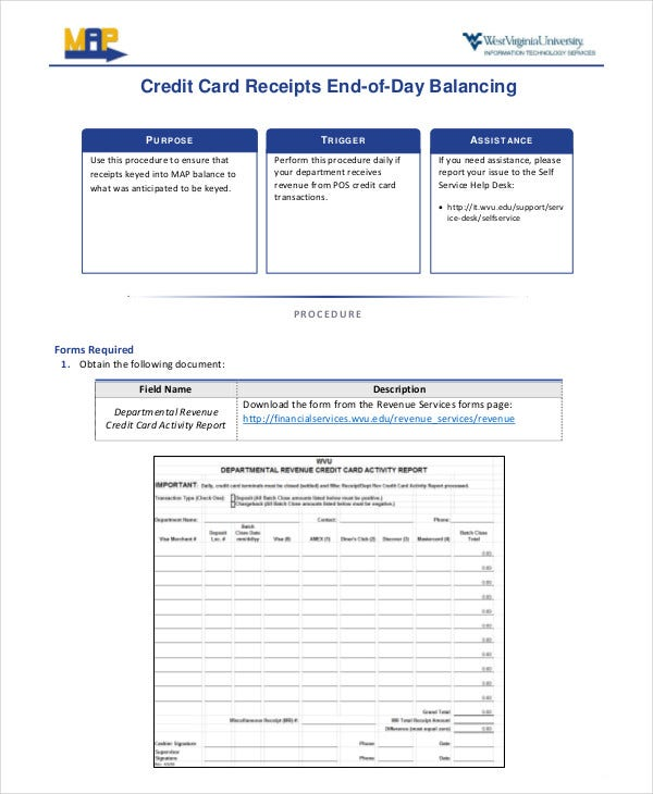 End-of-Day Credit Card Receipt Form