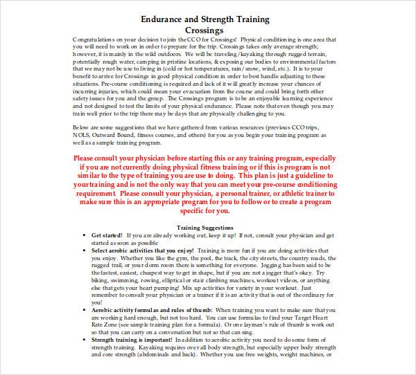 endurance and strength training program