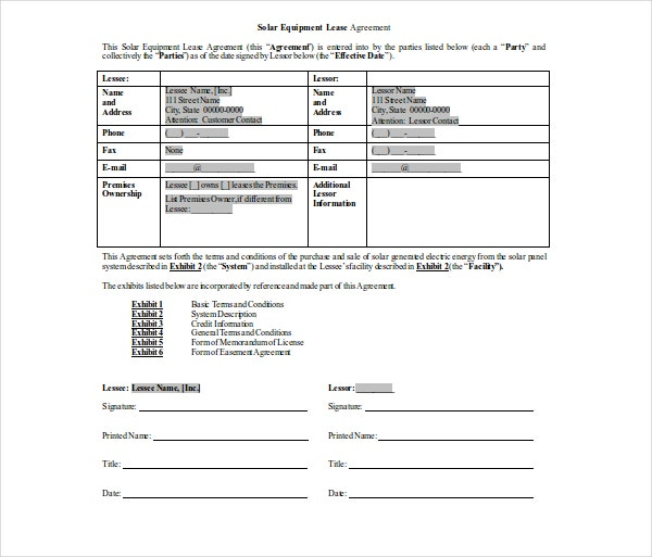 equipment commercial lease lease agreement
