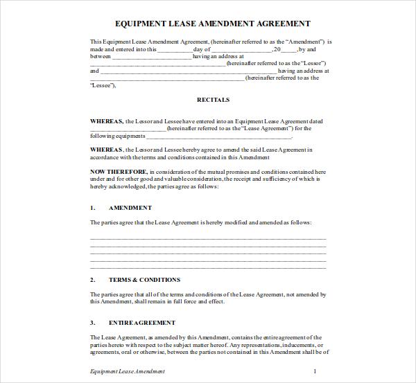 equipment lease amendment agreement