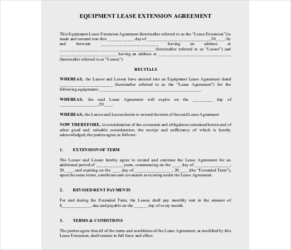 equipment lease extension agreement
