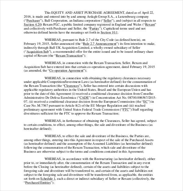 11 Asset Purchase Agreement Templates Pdf Word Apple