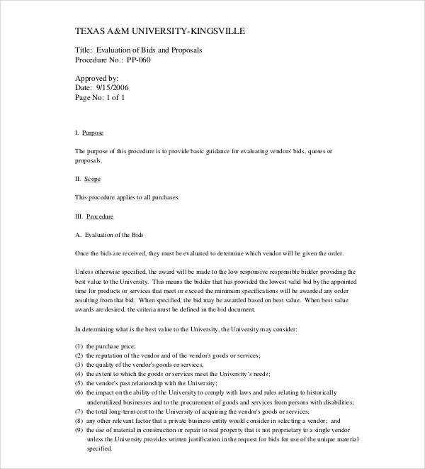 evaluation bid proposal