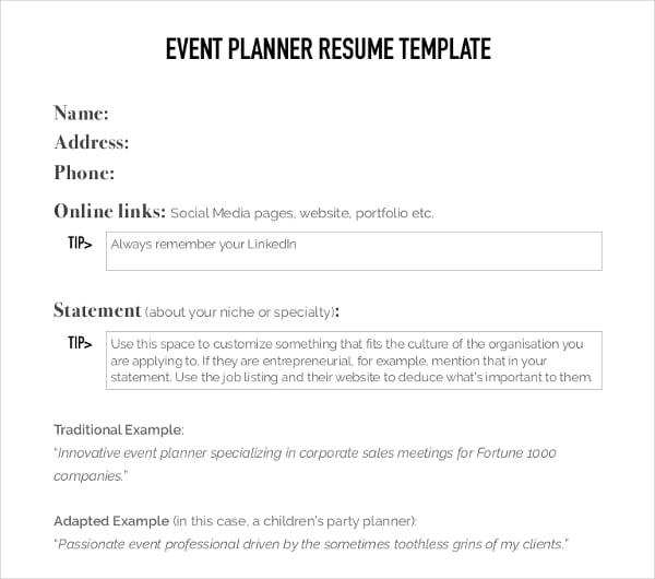 event planner résumé template
