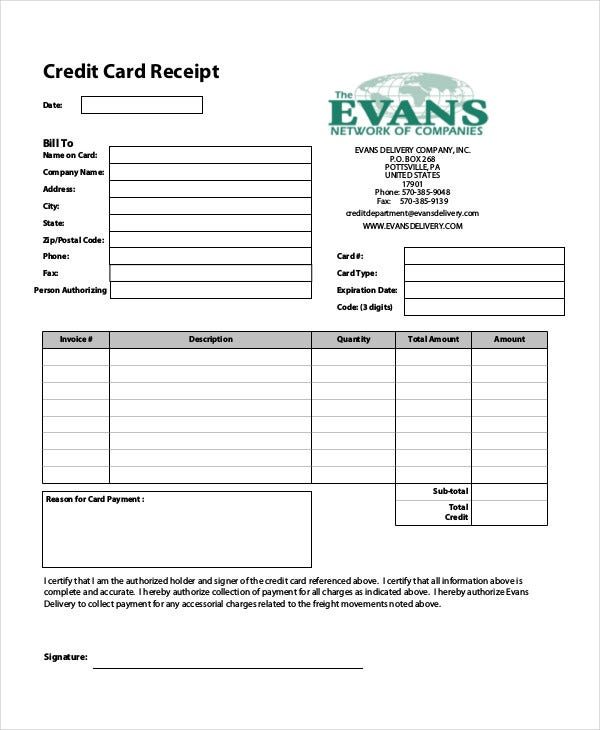 Example Credit Card Receipt