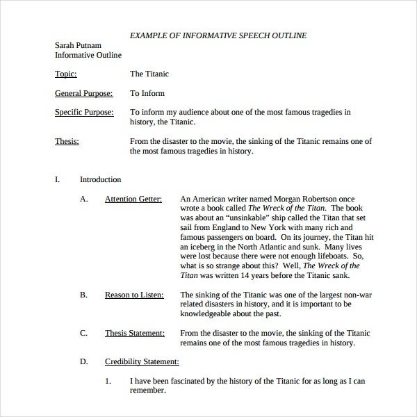 Introduction Speech Outline Templates  Pdf Word  Free
