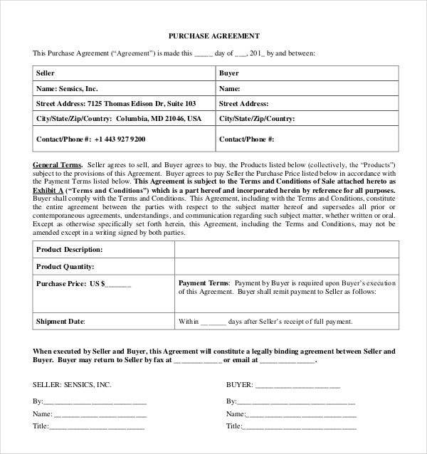 exclusive product purchase agreement template