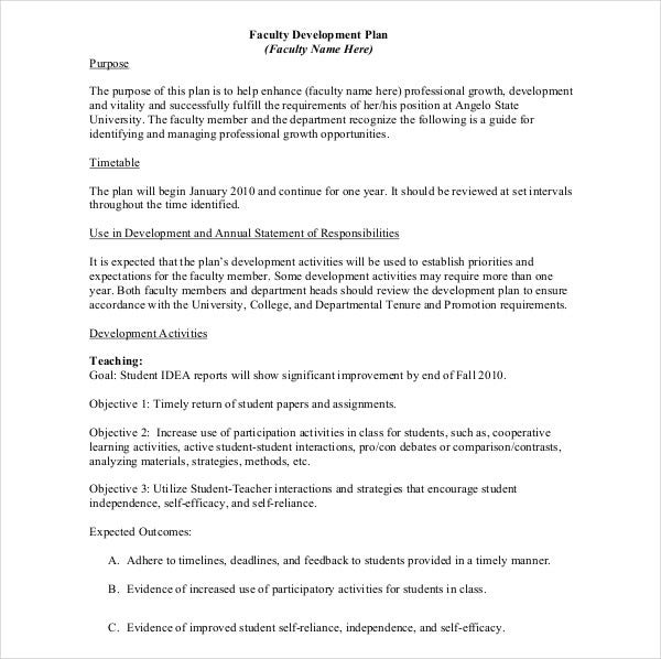 faculty professional development plan