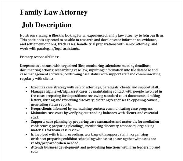 family law attorney job description