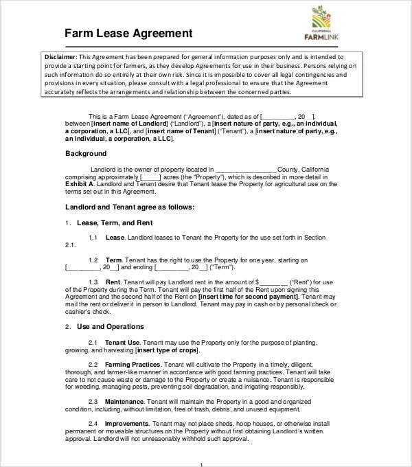 farm lease agreement sample