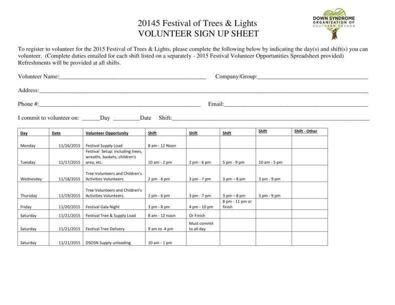 Festival Volunteer Sign-up Sheet