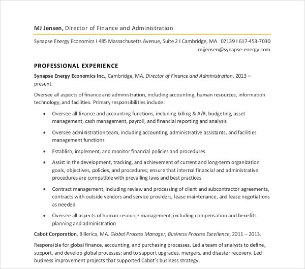 Finance Administration Director Resume  Finance Director Resume