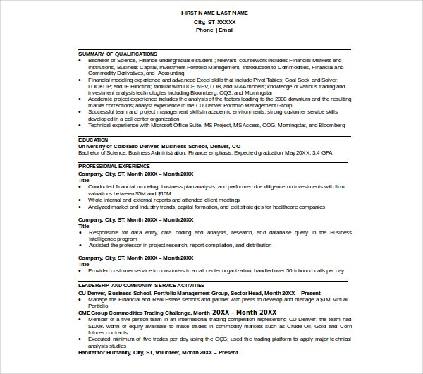 finance business resume