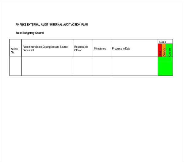 finance external internal audit action plan