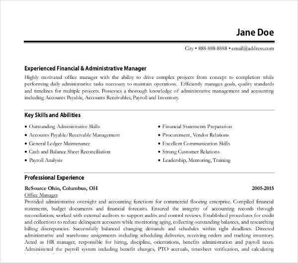 Financial Office Manager Resume  Office Manager Resume Skills