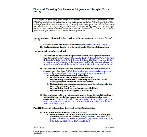 financial planning disclosure sample