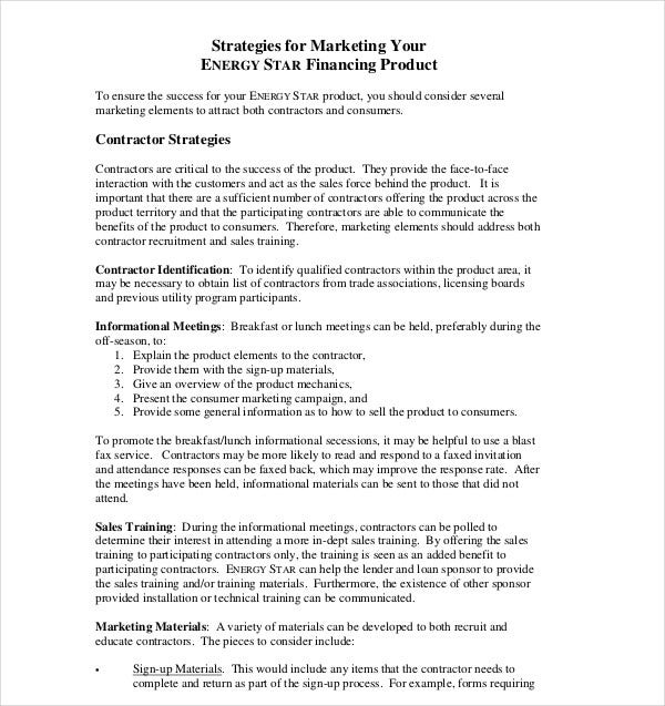 financing product contractor marketing plan