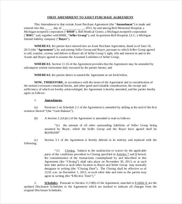 first amendment asset purchase agreement