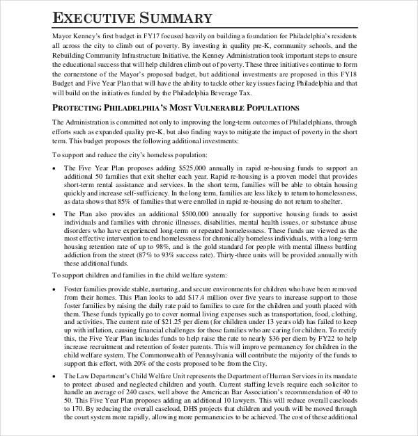five year financial strategic plan