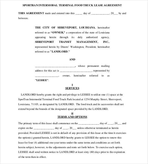 8 truck lease agreement templates pdf doc free. Black Bedroom Furniture Sets. Home Design Ideas