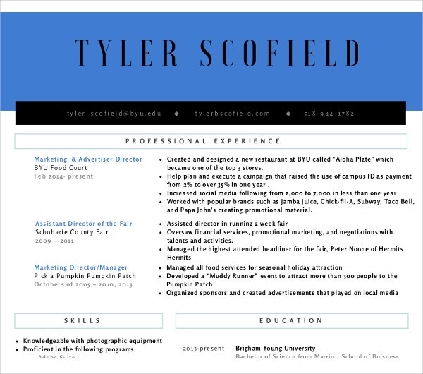 formal retail marketing resume