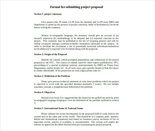 format for submitting project proposal