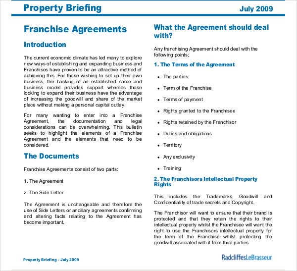 franchise agreements property briefing
