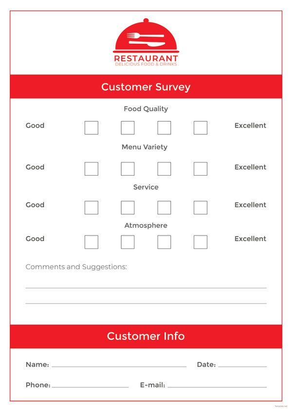 Comment Card Template   Free Printable Sample Example Format