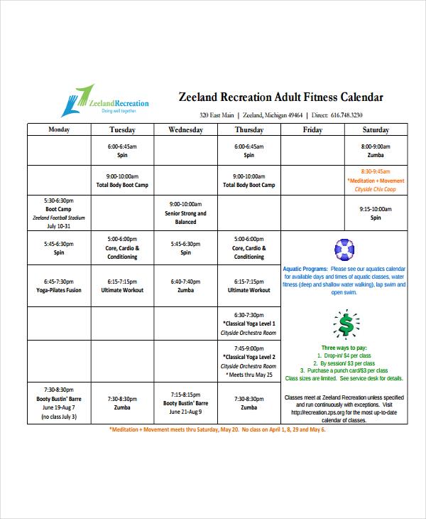Free Fitness Calendar