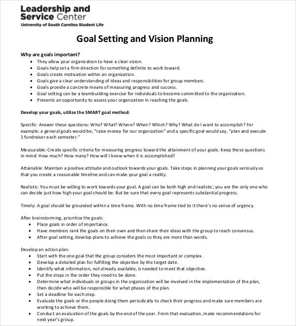 goal setting vision planning