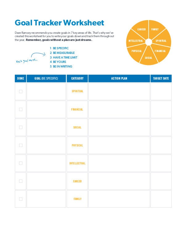 goal tracker worksheet
