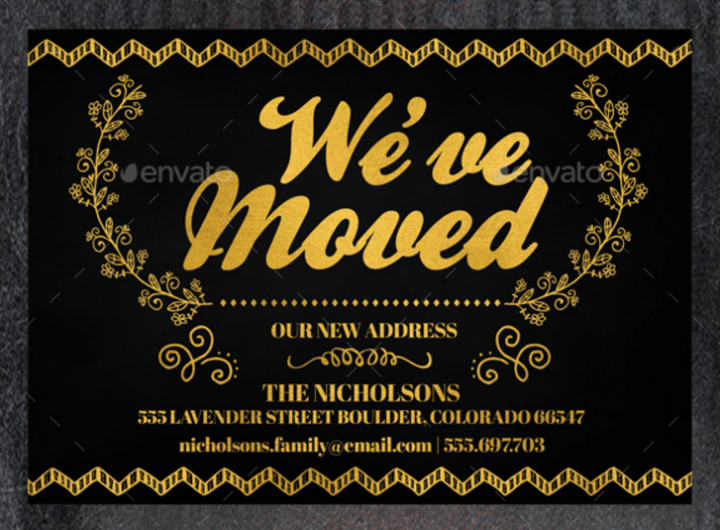 gold moving announcement card design