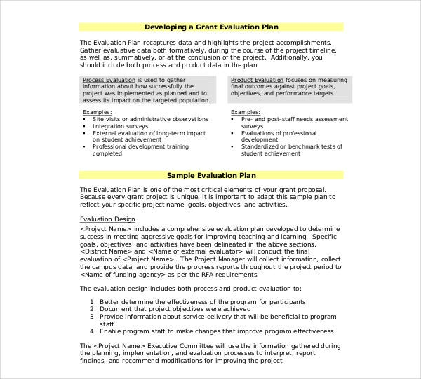 grant evaluation project plan