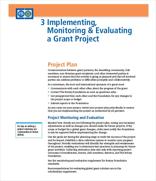 grant project implimenting plan